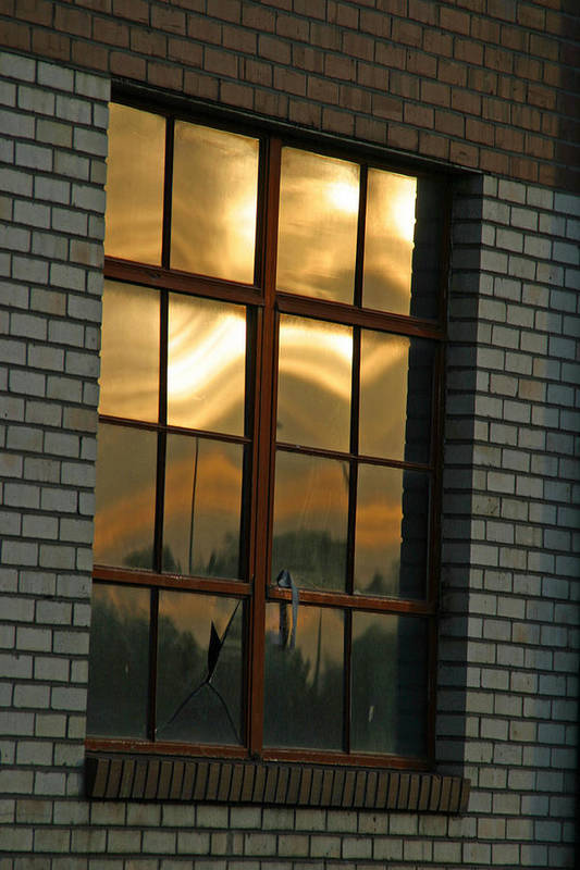 Reflection Art Print featuring the photograph Mountains And Sun In Window by Emily Clingman
