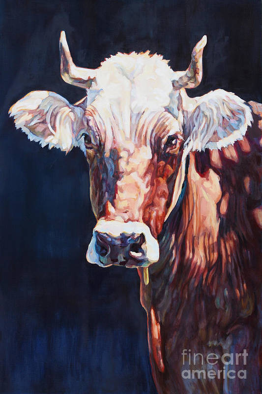 Cow Art Print featuring the painting Mrs. Stevens by Patricia A Griffin