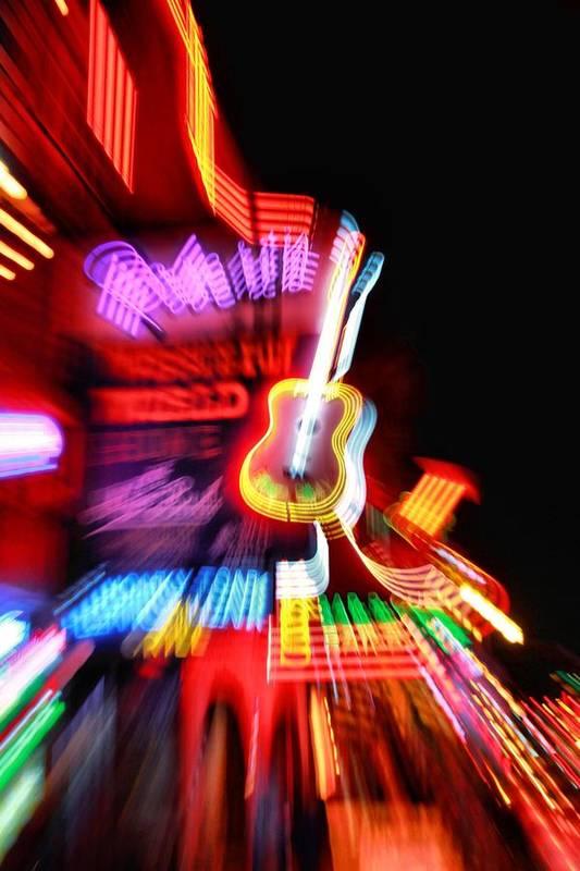 Neon Burst In Downtown Nashville Art Print featuring the photograph Neon Burst In Downtown Nashville by Dan Sproul