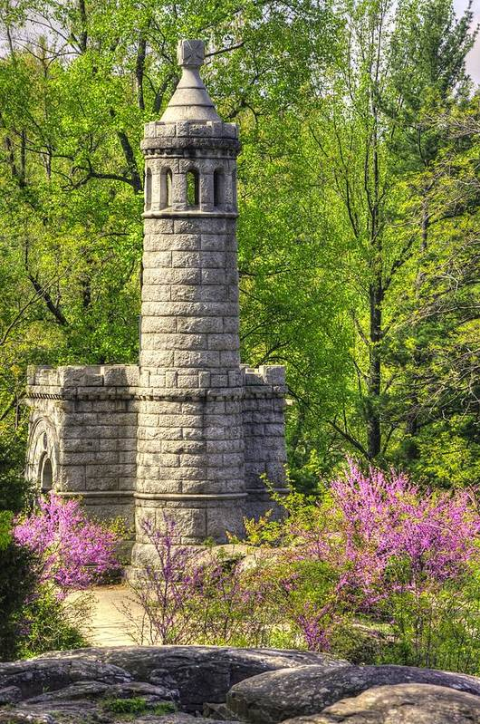 Civil War Art Print featuring the photograph New York At Gettysburg - Monument To 12th / 44th Ny Infantry Regiments-2a Little Round Top Spring by Michael Mazaika