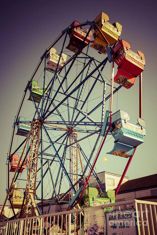 America Print featuring the photograph Newport Beach Ferris Wheel In Balboa Fun Zone Photo by Paul Velgos