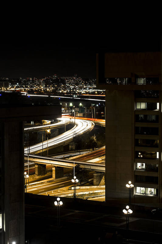Andrew Pacheco Art Print featuring the photograph Nighttime Commute by Andrew Pacheco