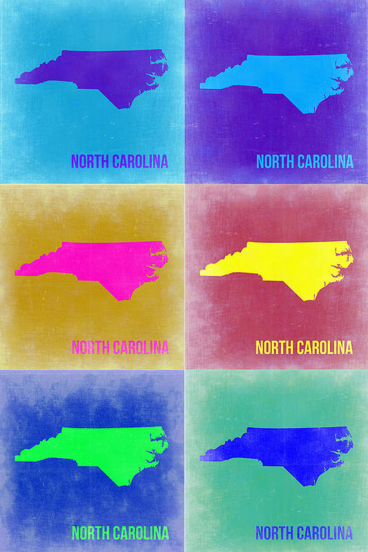Art Print featuring the painting North Carolina Pop Art Map 2 by Naxart Studio