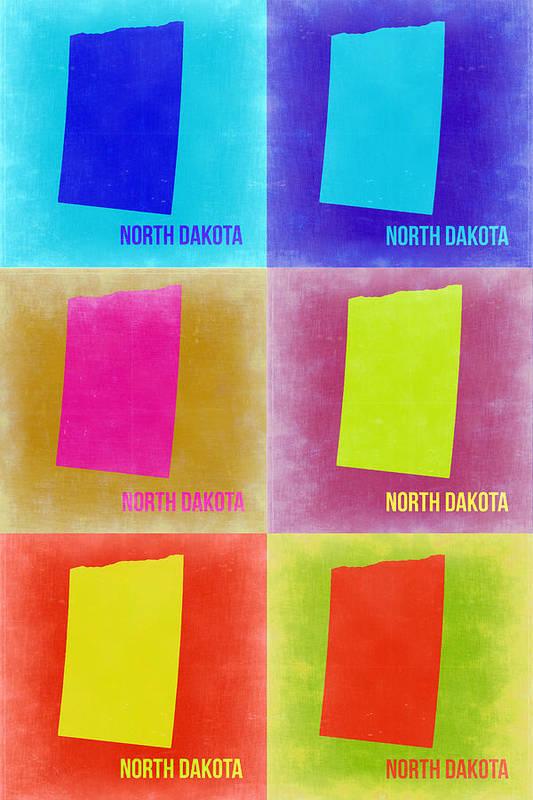 North Dakota Map Art Print featuring the painting North Dakota Pop Art Map 2 by Naxart Studio