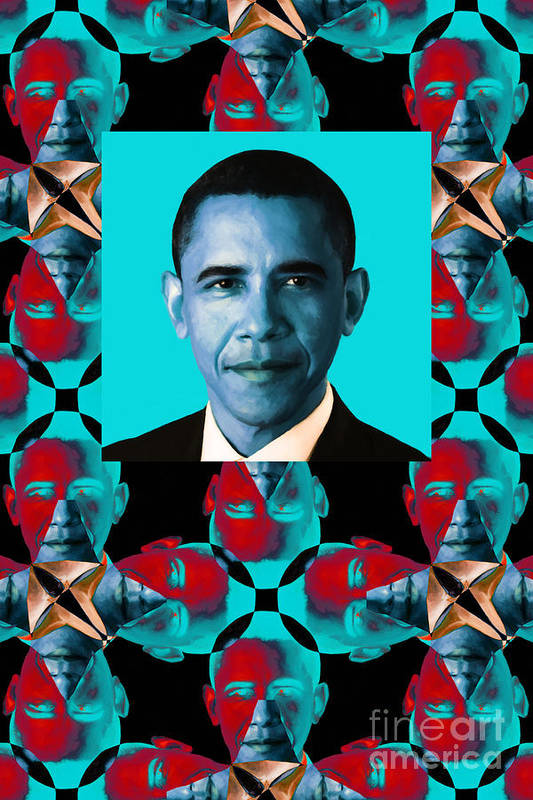 Politic Art Print featuring the photograph Obama Abstract Window 20130202verticalm180 by Wingsdomain Art and Photography