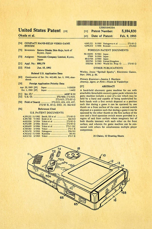 Famous Art Print featuring the photograph Okada Nintendo Gameboy Patent Art 1993 by Ian Monk