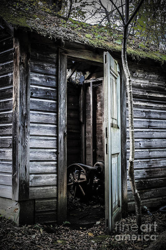 Sinister Art Print featuring the photograph Old Abandoned Well House With Door Ajar by Edward Fielding
