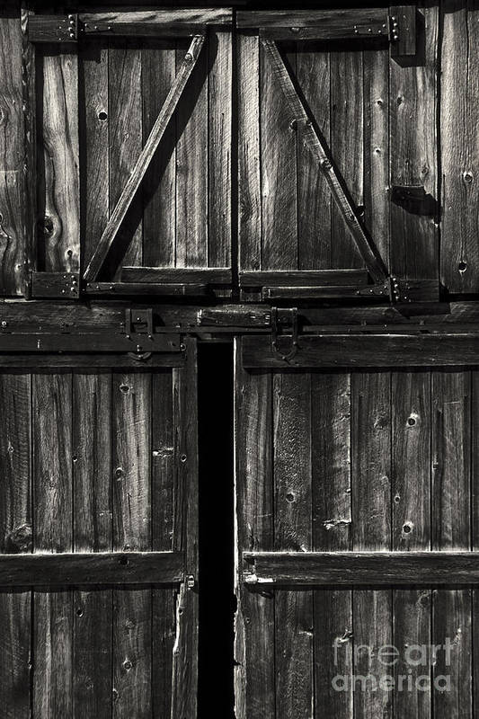 Barn Art Print featuring the photograph Old Barn Door - Bw by Paul W Faust - Impressions of Light