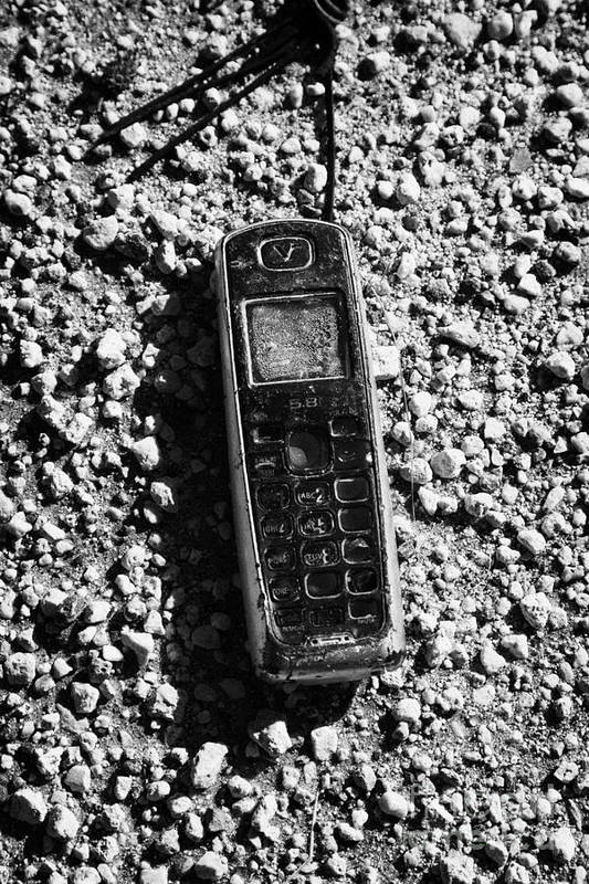 Old Art Print featuring the photograph Old Broken Smashed Thrown Away Cheap Cordless Phone Usa by Joe Fox