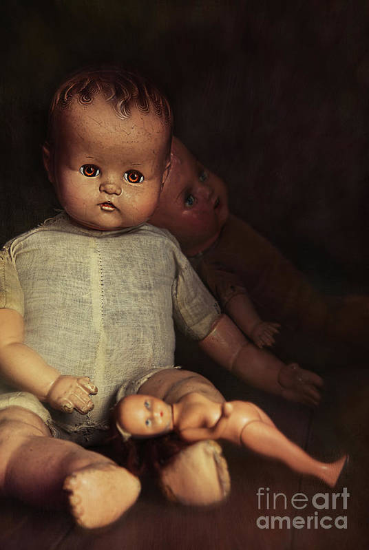 Atmosphere Art Print featuring the photograph Old Dolls Sitting On Wooden Table by Sandra Cunningham
