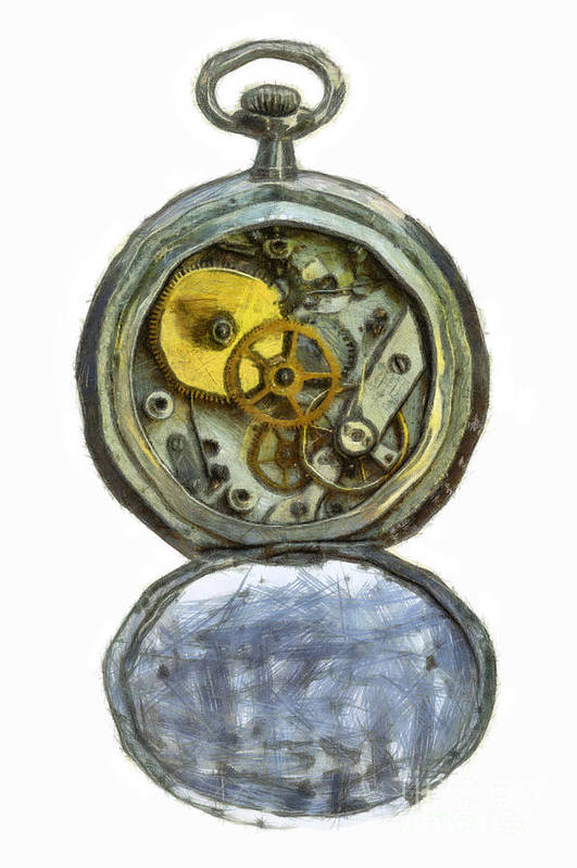 Antique Art Print featuring the digital art Old Pocket Watch by Michal Boubin