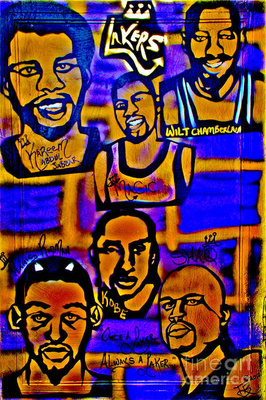 Magic Johnson Print featuring the painting Once A Laker... by Tony B Conscious