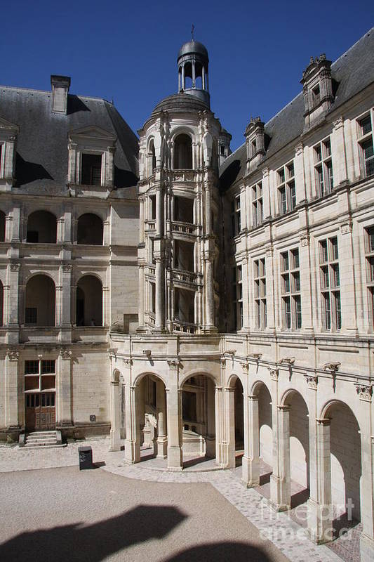 Palace Art Print featuring the photograph Open Staircase Chateau Chambord - France by Christiane Schulze Art And Photography