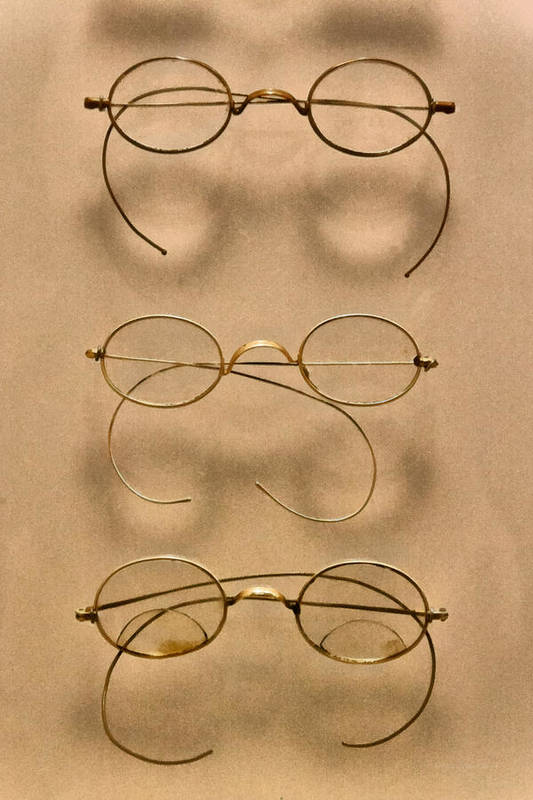 Optician Art Print featuring the photograph Optometrist - Simple Gold Frames by Mike Savad