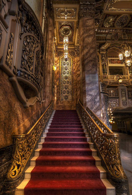 Ornate Staircase At A Theater Art Print By Krzysztof Hanusiak