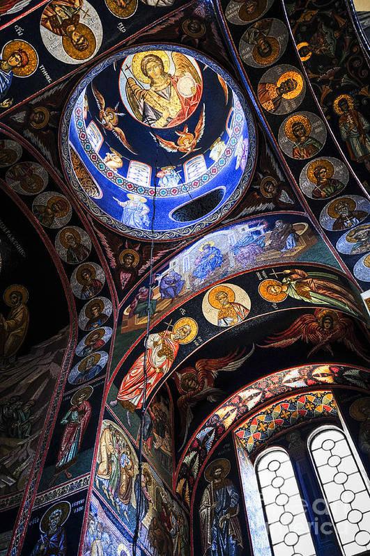Mosaic Art Print featuring the photograph Orthodox Church Interior by Elena Elisseeva