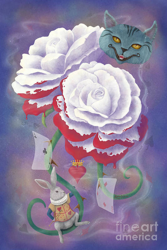 Alice In Wonderland Art Print featuring the digital art Painted Roses For Wonderland's Heartless Queen by Audra D Lemke
