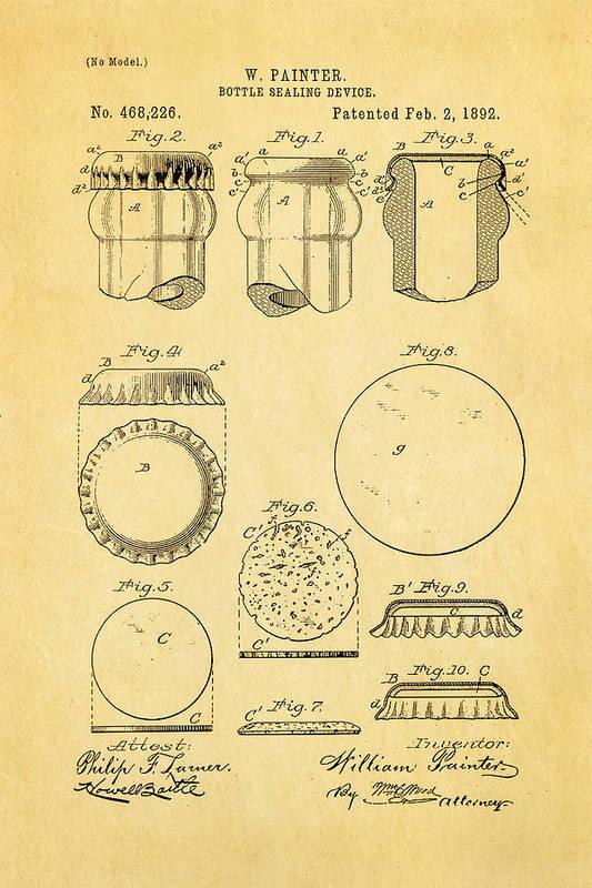 Famous Art Print featuring the photograph Painter Bottle Cap Patent Art 1892 by Ian Monk