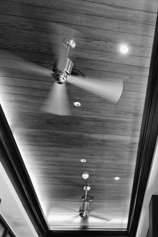 Contemporary Art Print featuring the photograph Paneled Ceiling Fans by Kantilal Patel
