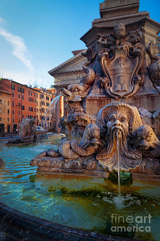 Europe Art Print featuring the photograph Pantheon Fountain by Inge Johnsson