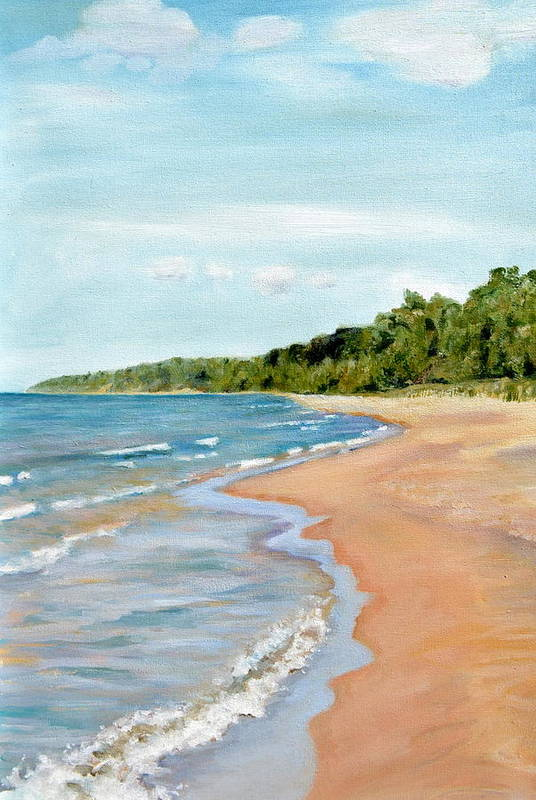 Beach Art Print featuring the painting Peaceful Beach At Pier Cove by Michelle Calkins