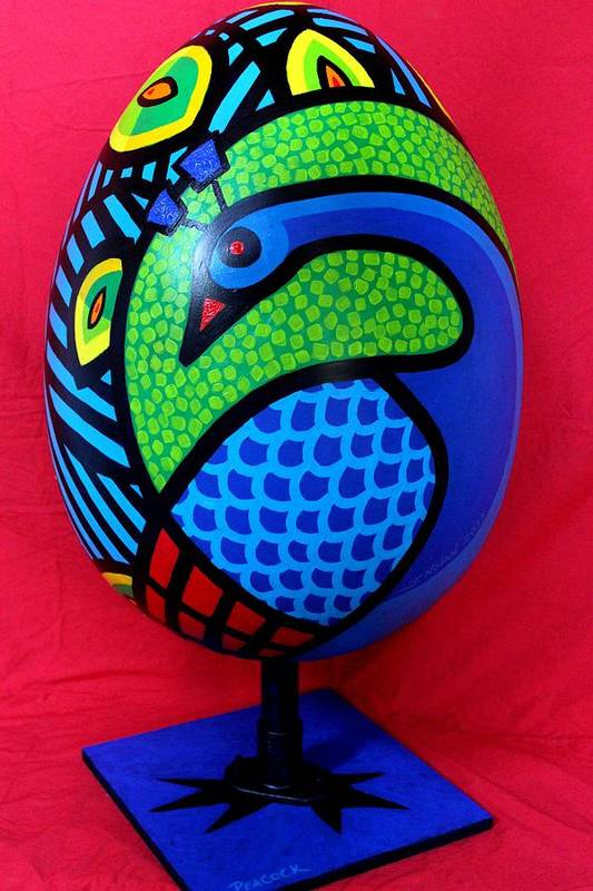 Peacock Art Print featuring the painting Peacock Egg by John Nolan