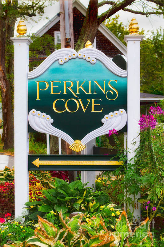 Color Image Photographs Art Print featuring the photograph Perkins Cove Sign by Jerry Fornarotto