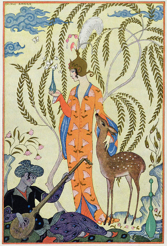 Stencil Art Print featuring the painting Persia by Georges Barbier