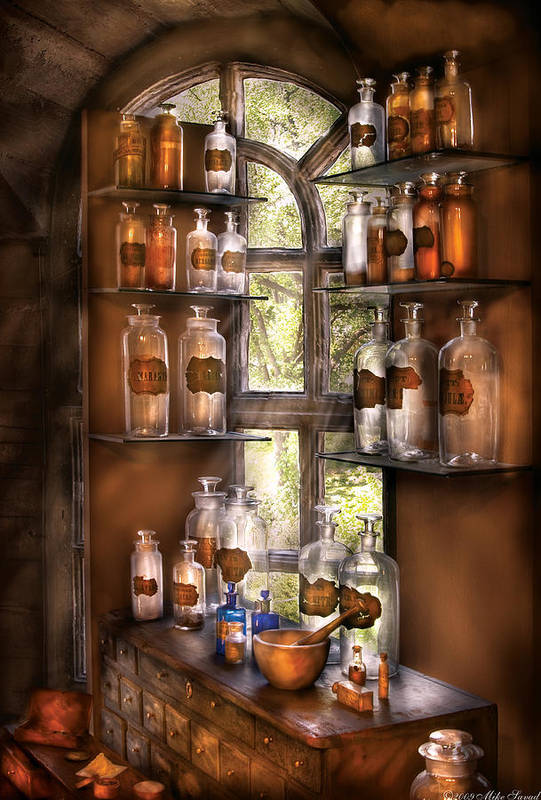 Pharmacy Art Print featuring the photograph Pharmacist - Various Potions by Mike Savad