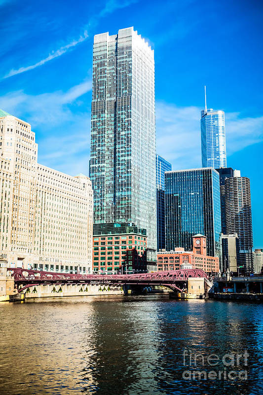 300 North Lasalle Building Art Print featuring the photograph Picture Of Chicago River Skyline At Franklin Bridge by Paul Velgos