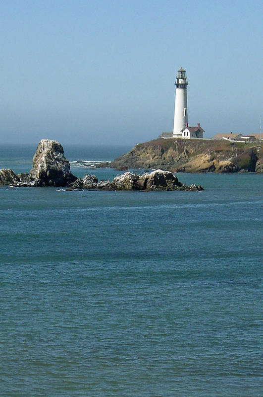 Lighthouse Art Print featuring the photograph Pigeon Point Lighthouse Near Half Moon Bay-san Francisco by Suzanne Gaff