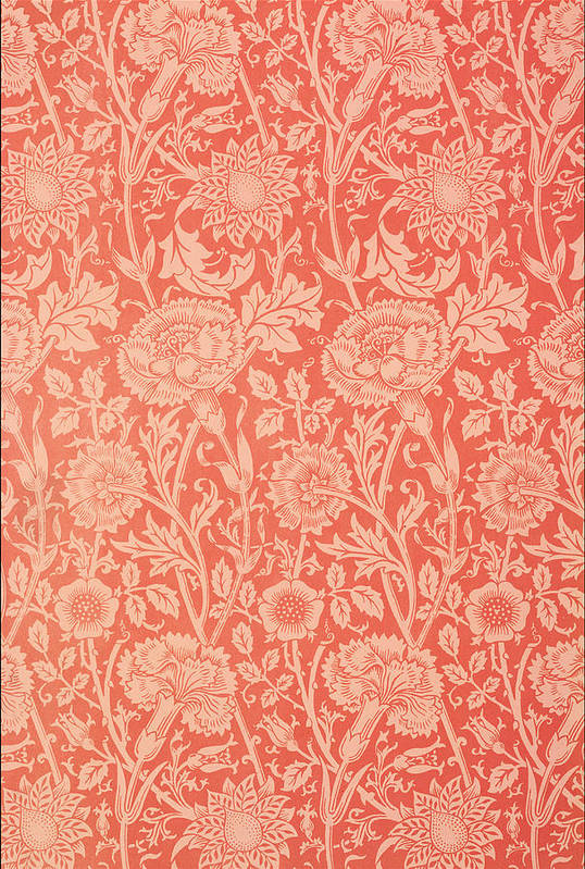 Pattern Art Print featuring the tapestry - textile Pink And Rose Wallpaper Design by William Morris