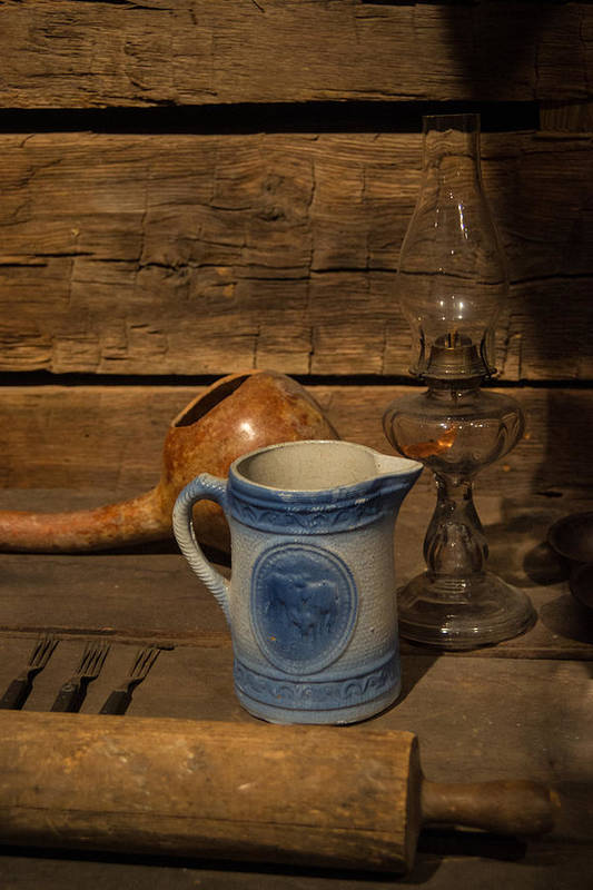Pitcher Art Print featuring the photograph Pitcher Cup And Lamp by Douglas Barnett