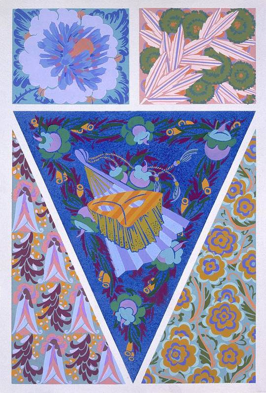 Decorative Print featuring the drawing Plate 3, From Forms And Colours, C.1930 by Auguste H. Thomas