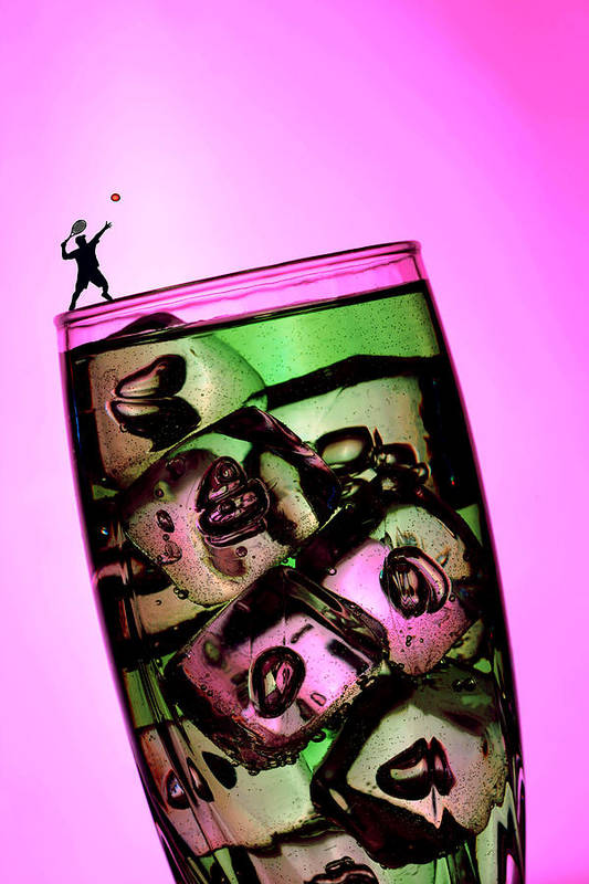 Wine Art Print featuring the photograph Playing Tennis On A Cup Of Lemonade Little People On Food by Paul Ge