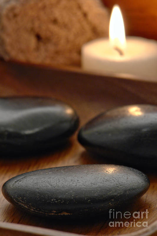 Spa Art Print featuring the photograph Polished Stones In A Spa by Olivier Le Queinec
