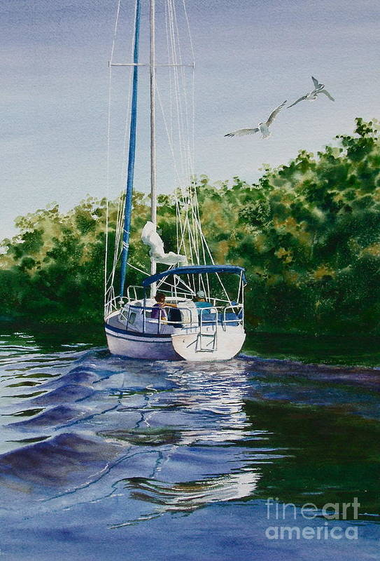 Sailboat Art Print featuring the painting Ponce De Leon Passage by Karol Wyckoff