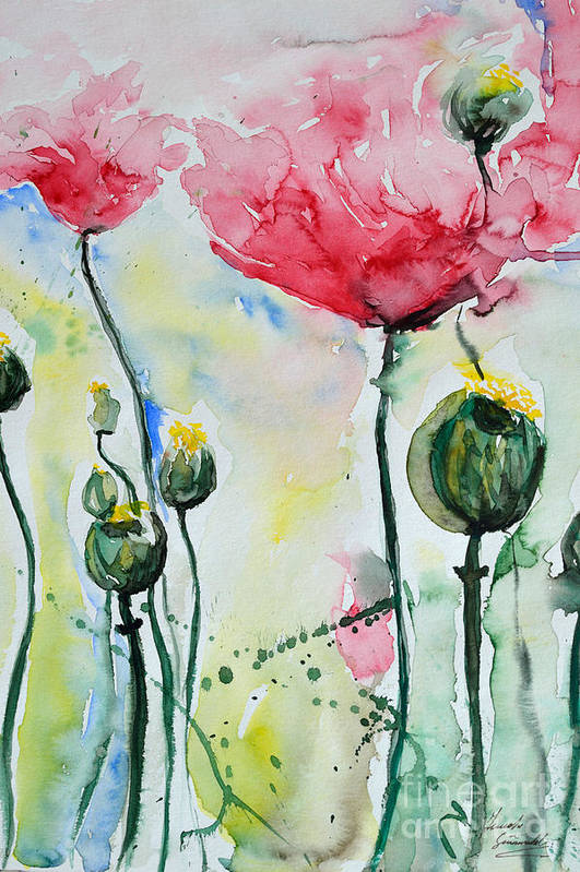 Poppy Art Print featuring the painting Poppies by Ismeta Gruenwald