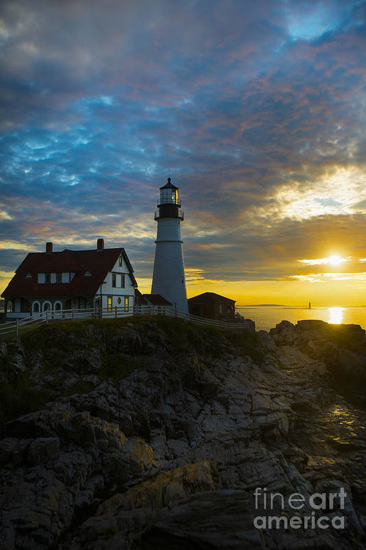 Lighthouse Print featuring the photograph Portland Head Light At Dawn by Diane Diederich