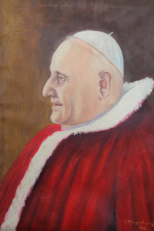 Pope Art Print featuring the painting Portrait Of Pope John Xxiii - Papa Giovanni Xxiii by Mario Zampedroni
