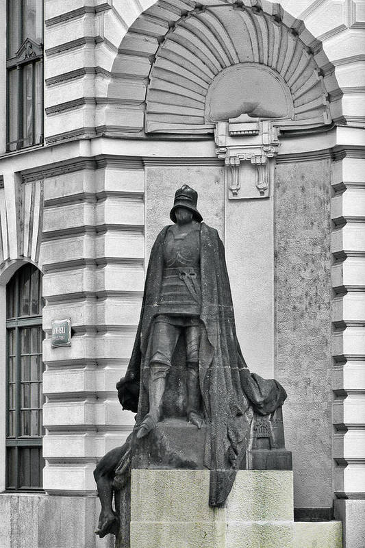 Prague Art Print featuring the photograph Prague - The Iron Man From A Long Time Ago And A Country Far Far Away by Christine Till