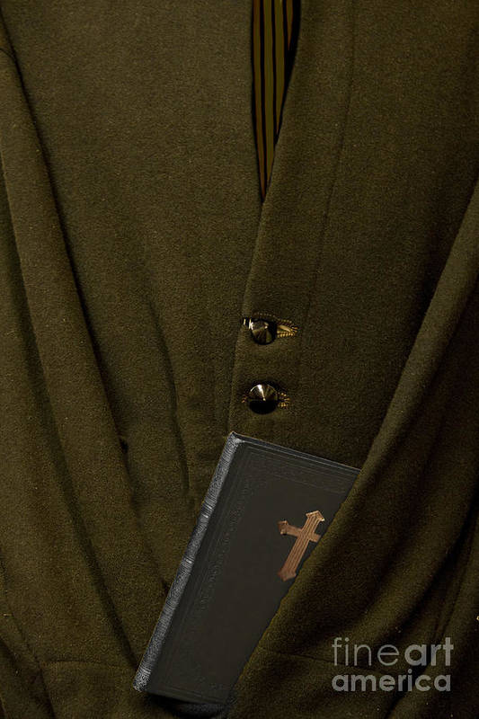 Mens; Old; Grunge; Bible; Binding; Side View; Cross; Metallic; Symbol; Religion; Book; Words; Symbolism; Close Up; Still Life; Object; Read; Prayer; Religious; Priest; Man; Dark; Darkness; Faith; God; Jesus; Clergy; Buttons; Jacket; Christian; Catholic; Art Print featuring the photograph Priest by Margie Hurwich