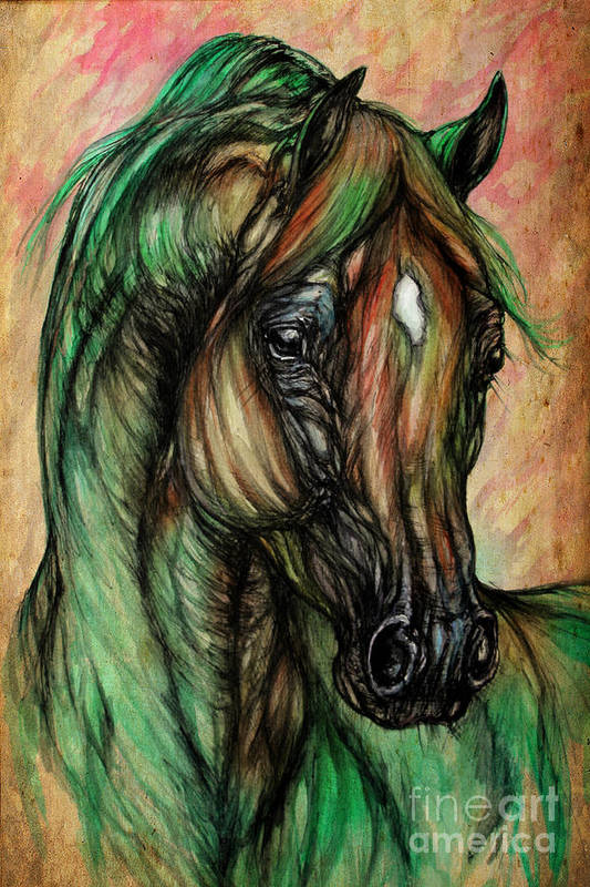 Horse Art Print featuring the painting Psychedelic Green And Pink by Angel Ciesniarska