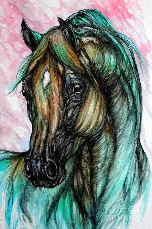Horse Art Print featuring the painting Psychodelic Pink And Green by Angel Ciesniarska