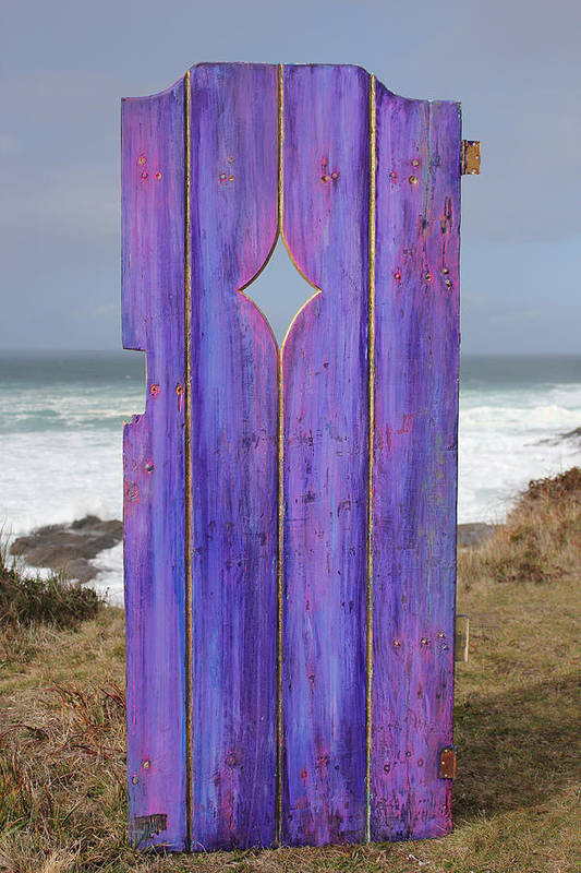 Painted Garden Gate Art Print featuring the painting Purple Gateway To The Sea by Asha Carolyn Young