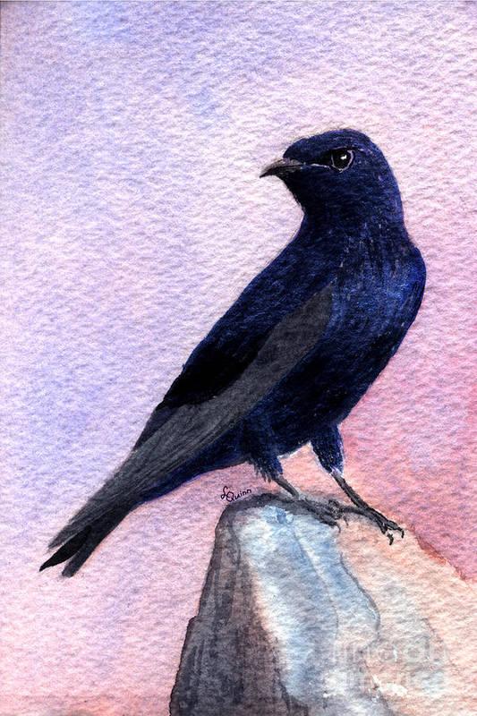 Bird Art Print featuring the painting Purple Martin by Lynn Quinn