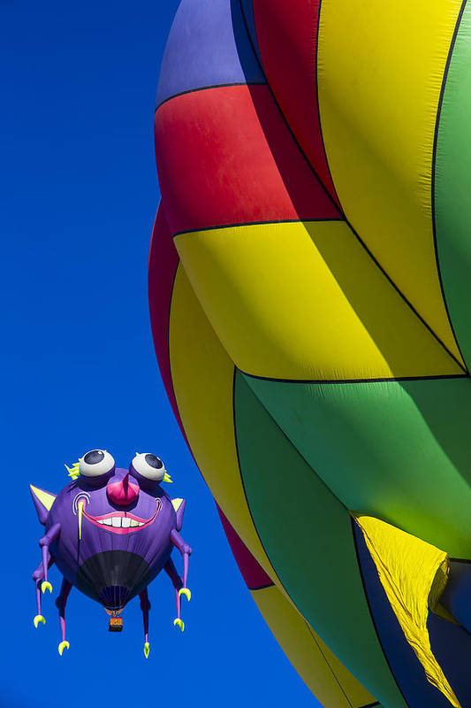 Purple People Eater Hot Air Balloon Art Print featuring the photograph Purple People Eater Smiling by Garry Gay