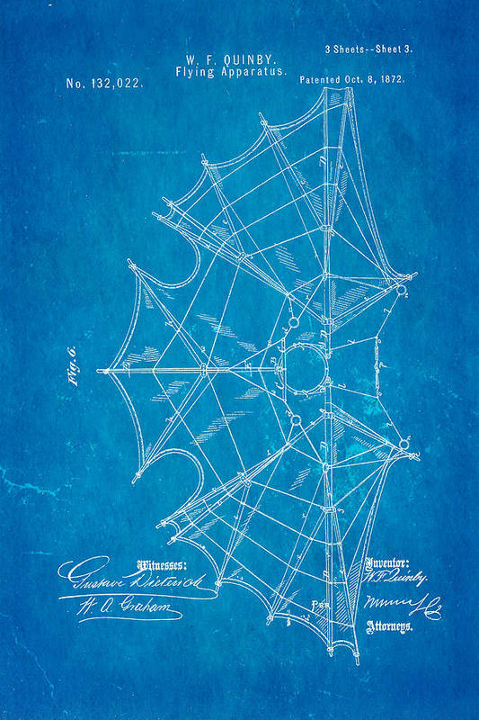 Aviation Art Print featuring the photograph Quinby Flying Apparatus 3 Patent Art 1872 Blueprint by Ian Monk