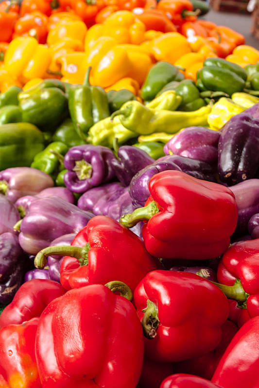 Agriculture Art Print featuring the photograph Rainbow Of Peppers by Teri Virbickis