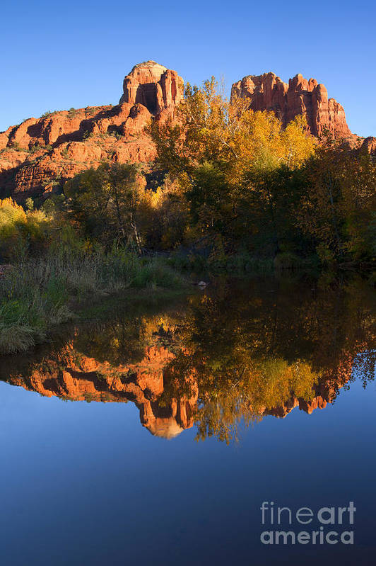 Sedona Art Print featuring the photograph Red Rock Reflections by Mike Dawson
